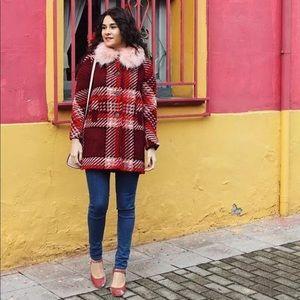 Zara red pink tweed wool chic coco coat jacket S